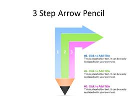 Three Step Pencil diagram in multiple colors