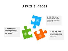 This PowerPoint diagram slide shows 3 puzzle pieces of different colors. There are text boxes next to each piece