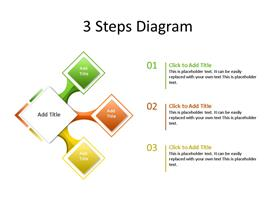 This PowerPoint diagram slide shows 3 steps or phases or aspects. There are numbered text boxes next to each step.