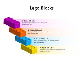 4 Stacked Lego Blocks in different colors