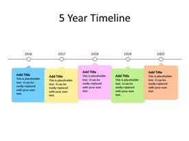 This PowerPoint diagram slide shows  a 5 year timeline, with text boxes to enter information about each year.