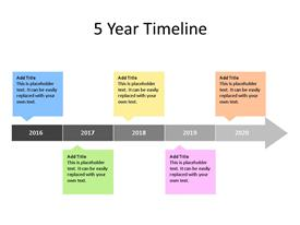 This PowerPoint diagram slide shows  a 5 year timeline, with text boxes to enter data for each year.