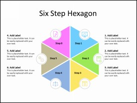 6 Step Hexagon Diagram with business icons