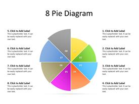8 pie shares in different colors