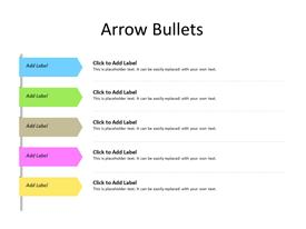 5 arrows in sequence as bullet points