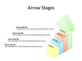 This PowerPoint diagram slide shows 4 steps or stages, with the last one being the shape of an arrow, pointing upward, and with text boxes to enter data for each step.