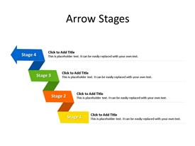 This PowerPoint diagram slide shows 4 steps or stages, wrapping in an arrow shape at the end, and with text boxes to enter data for each step.