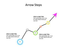 Arrow chart going up and down with three steps