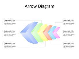 Arrow diagram with 6 multicolor steps