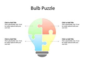 This PowerPoint diagram slide shows 5 Segments Light Bulb Puzzle