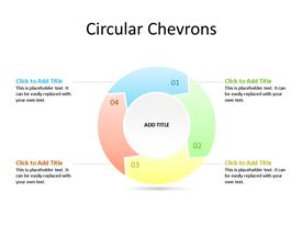 PowerPoint 4 step circular chevron process diagram with text boxes to enter data for each step.