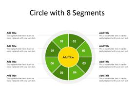 Circular PowerPoint diagram with 8 segments with text boxes to enter data for each segment.