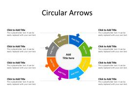 8 Step circular arrow PowerPoint diagram depicting process with text boxes to enter data