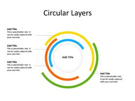 4 Steps Layered Circular PowerPoint Diagram with text boxes to enter data