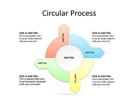 4 Diverging Circular Arrow Process PowerPoint Diagram with text boxes to enter data