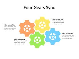 Four Gear Process Diagram in PowerPoint with editable text to enter data