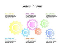 Multiple Gears PowerPoint diagram for business process and analysis