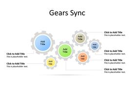 Multiple Gears PowerPoint diagram depicts business process and analysis