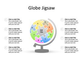 Globe made of different color jigsaw pieces