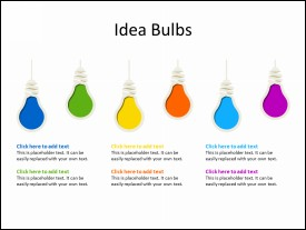 6 multicolor Idea Bulbs in sequence