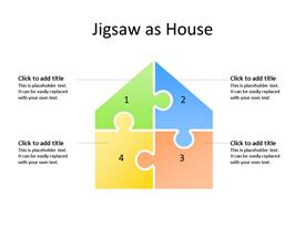 Jigsaw Puzzle House made up of 4 different color pieces