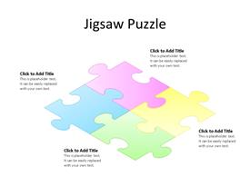 PowerPoint Diagram with Multi-color Interconnected Jigsaw Puzzle Pieces