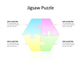 Four multi-color interconnected jigsaw puzzle forming hexagon