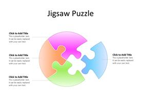 One jigsaw puzzle piece taken out of four interconnected in a circle