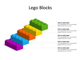 5 Stacked Lego Blocks in different colors