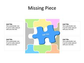 Missing piece in different interconnected multi-color jigsaw puzzles