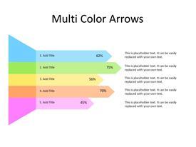 5 multicolor arrows with percentage values