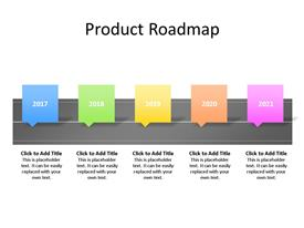 Five phase product road map PowerPoint diagram spread over five years with editable text to enter data