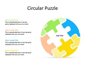 Circular puzzle PowerPoint diagram with one piece missing