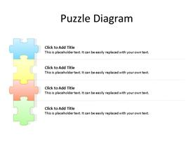 Four staged jigsaw puzzle power-point diagram with editable text to enter data