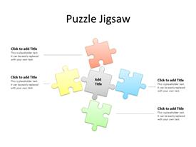 Four jigsaw puzzle pieces in different colors with editable text to enter data