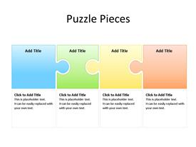 Four interconnected jigsaw puzzle pieces in different colors