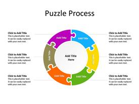 Six step circular jigsaw puzzle piece PowerPoint diagram