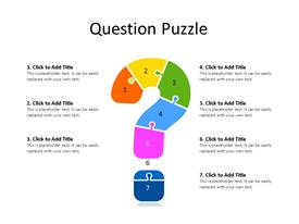 Linear seven piece jigsaw puzzle question mark diagram