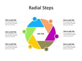 Six step multi-color radial diagram with editable text to enter data