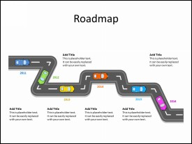 Roadmap Diagram with 6 Milestones