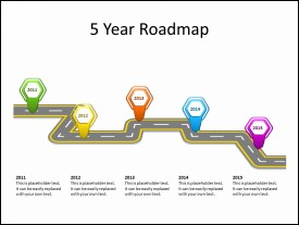 Roadmap Diagram with 5 Location Markers