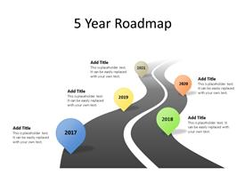 Five phase product road map PowerPoint diagram with editable text to enter data