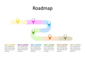 Road map diagram with six milestones/stages in different colors