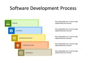 Five steps software development process PowerPoint diagram as stairs