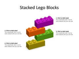 4 multicolor Lego Blocks stacked to form a structure