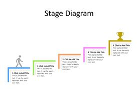 Five stage stairs PowerPoint diagram with reward at the top