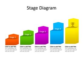 Five stage multi-color steps PowerPoint diagram