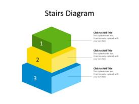 3D blocks stairs diagram with three stages