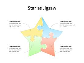 Four puzzles steps star PowerPoint diagram