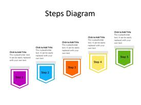 Five steps PowerPoint diagram with chevrons in sequence